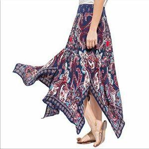 Bila Bohemian Handkerchief Hem Maxi Skirt
